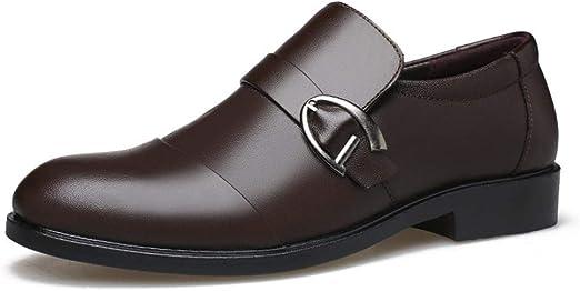 HILOTU Hommes Slip on Mocassins Chaussures habillées en Cuir