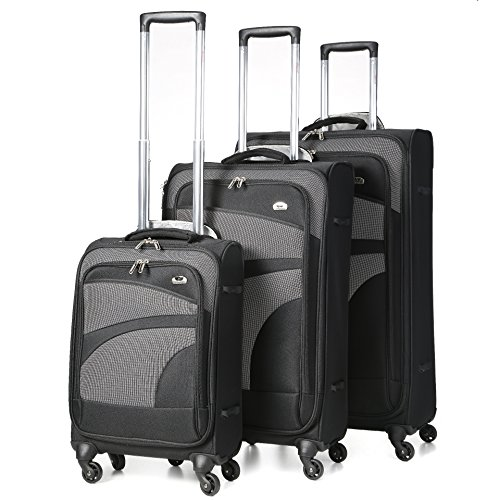 "Aerolite Super Lightweight 4 Wheel Spinner Luggage Suitcase Travel Trolley Case (Black/Grey, 21"" Cabin + 26"" + 29"", 3 Piece Set)"