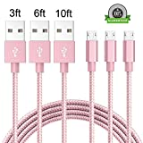 PC Hardware : Micro USB Cable, Arukas 3-Pack 3ft 6ft 10ft Extra Long Nylon Braided Sync and Charge for Android Devices, Samsung Galaxy S7 Edge/S6/S5/S4,Note 5/4/3,HTC,LG,Motorola, Nexus (pink)