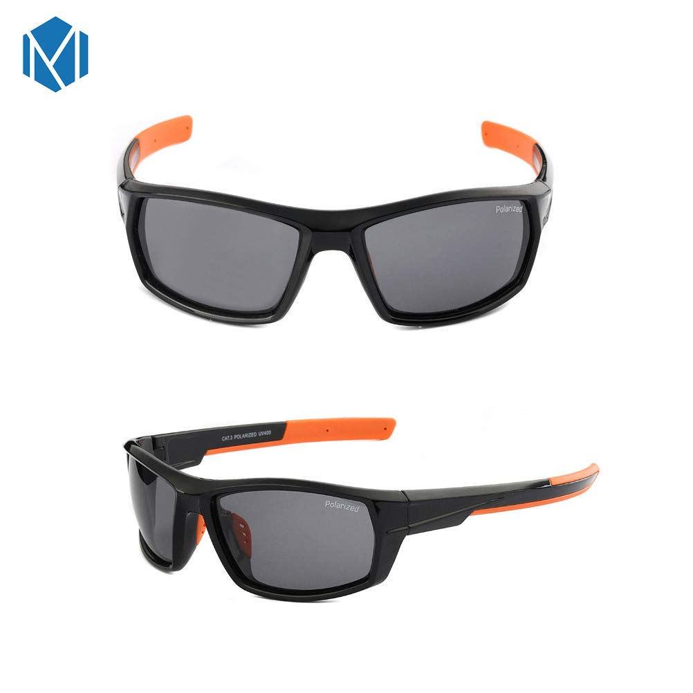 70a7b95efee3 Amazon.com  MISM Men s Polarized Sport Sunglasses Full Frame Wrap Eyewear  UV400 Protection Mirrored Shield Black  Clothing