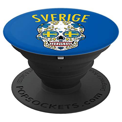 Vintage Sweden Sugar Skull Sverige Flag Halloween Gift PopSockets Grip and Stand for Phones and Tablets