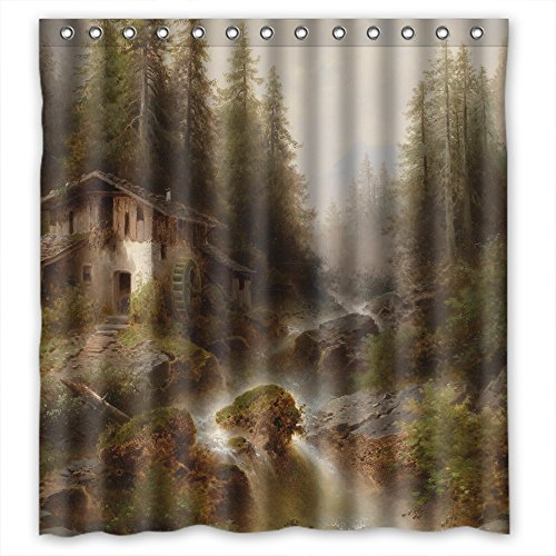 ZEEZON The Beautiful Scenery Landscape Art Painting Christmas Shower Drape Of Polyester Width X Height / 66 X 72 Inches / W H 168 By 180 Cm Decoration Gift For Custom Couples Birthday Bf Family. (Chameleon Pajama Costume)
