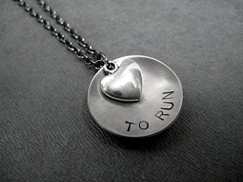 LOVE (Heart) TO RUN Running Necklace Hand Stamped Round Nickel Silver Charm with Pewter Heart on 18 inch Gunmetal Chain (Marathon Necklace)