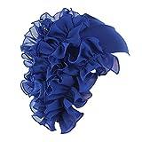 Cuekondy 1PC Newest Women Muslim Stretch Turban Ruffle Flower Brim Hat Chemo Cap Hair Loss Head Wrap Scarf