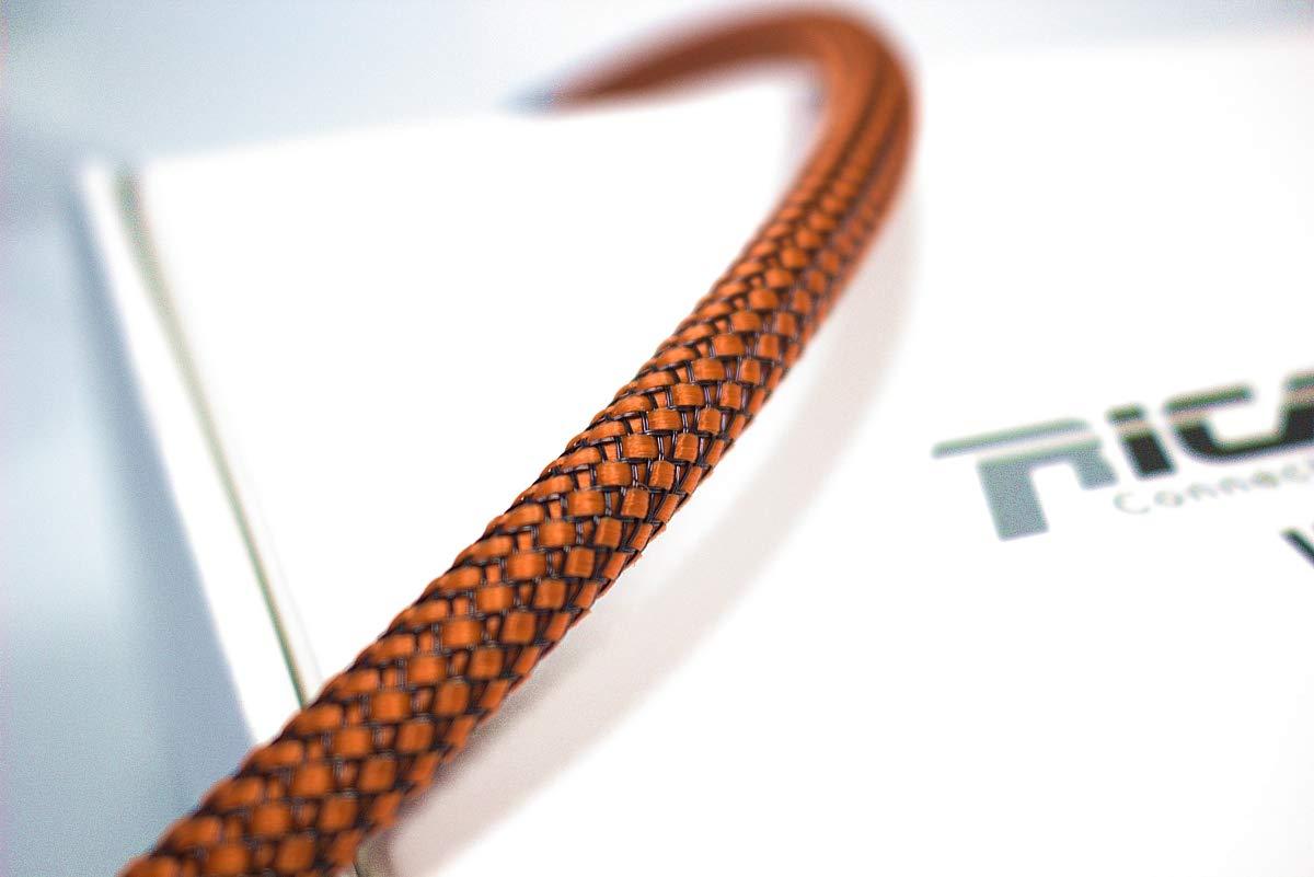 Gaine de Protection tress/ée pour c/âble 4-10 mm Ricable Custom OB08//10 Orange//Noir 10m