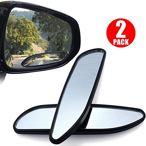 Convex Side Mirror (2pcs Car Blind Spot Mirror, LinkStyle Universal Wide Angle Rear Side View Spot Mirror Safety Convex Side Mirror Long Design Car Mirror for Cars Trucks SUV RVs and Vans)