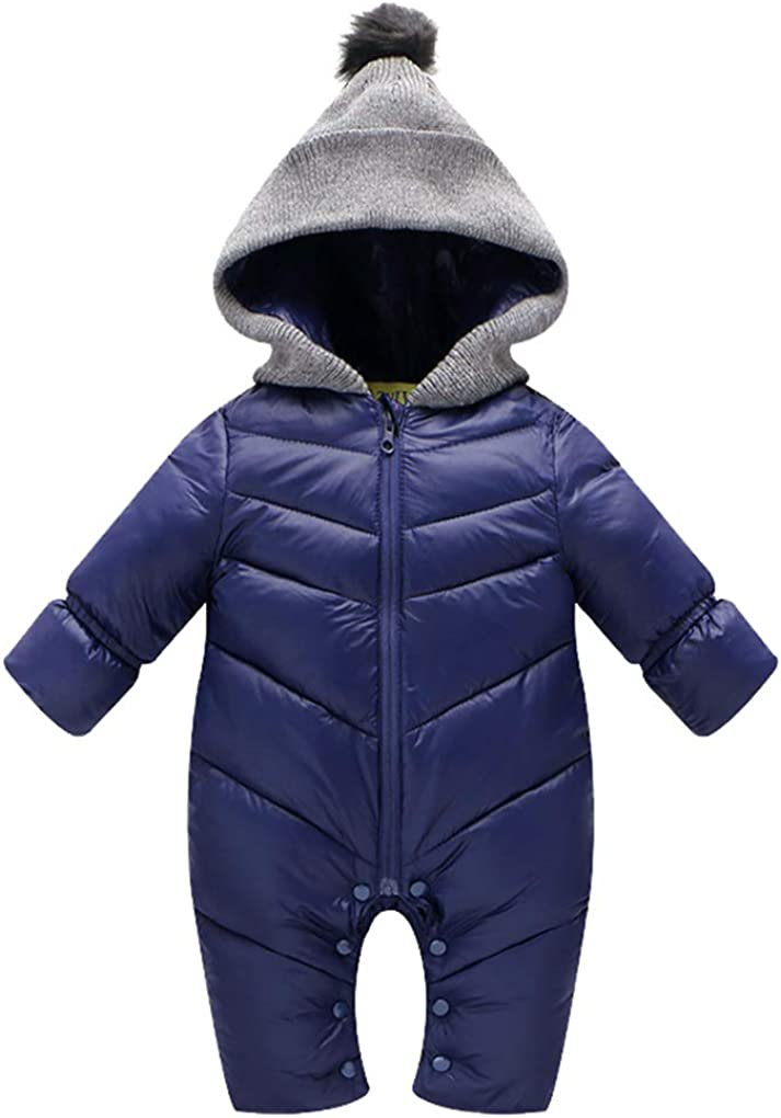 Uobzyaq Baby Boys Girls Hooded One-Piece Puffer Winter Down Snowsuit Jumpsuit Overcoat
