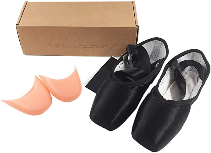Ballet Pointe Shoes Satin Upper With Ribbon Dance Toe Shoes