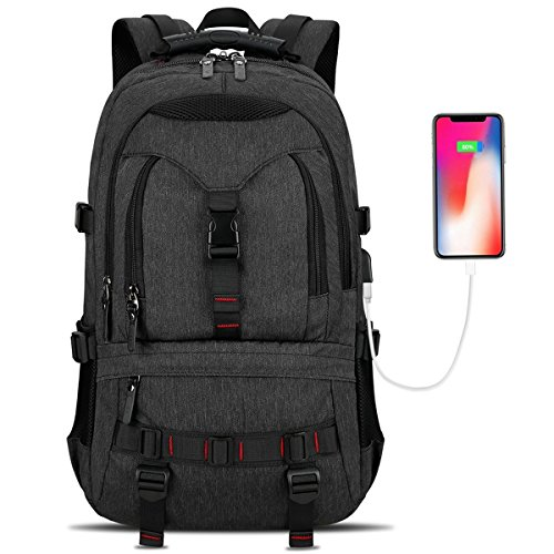 Laptop Backpack, Tocode Travel Backpack Contains Multi-Function Pockets,Stylish Anti-Theft School Bag with USB Charging Port Fits 17.3 Inch Laptop Comfort Pack for Men & Women –Black Update by Tocode