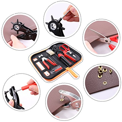 Glarks Heavy Duty Adjustable Metal Hole Punch Pliers Revolving Leather Belt Hole Punch with Eyelet Pliers Tool Kit for Belt, Watch Bands, Saddle, Shoes, Crafts by Glarks (Image #6)