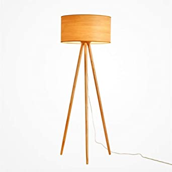 Yl Light Led Tripod Floor Lamp Mid Century Modern Wood For Contemporary Living Or Family Rooms Tall Standing Survey Lamp For Bedroom Office Kids