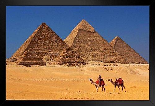 Pyramids of Giza Khufu Khafre Menkaure Egyptian Architecture Seven Wonders of World Framed Poster 14x20 inch (Khufu Pyramid Giza)