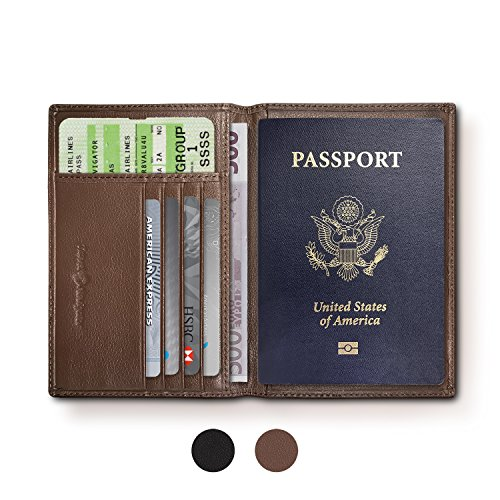 RFID Blocking Folding Leather Passport Holder Wallet For Men and Women - - Brown Leather Traveler