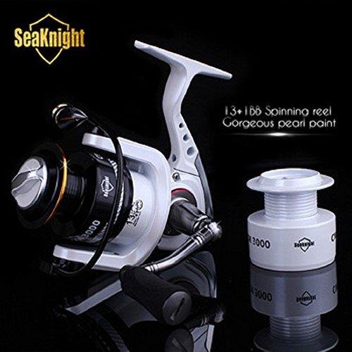 Seaknight 2015 New Quality Cm2000-4000 14bb 5.2:1 Metal Spinning Fishing Reel Carp Fishing Wheel Spinning Reel + Spare Spool (4000 Series)