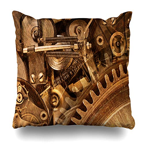 Ahawoso Throw Pillow Cover Brown Gear Abstract Collage Mechanical Device Bronze Steampunk Industrial Machine Gold Mechanism Old Home Decor Pillow Case Square Size 16x16 Inches Zippered ()