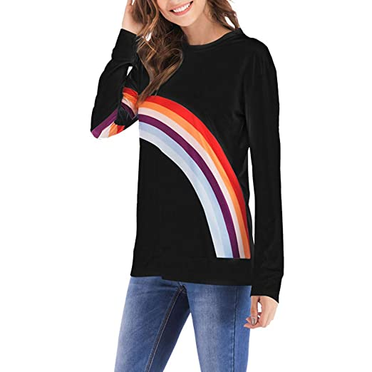 733ff3ceb3 Image Unavailable. Image not available for. Color: Atezch Women Blouse, Women's Rainbow Striped Long Sleeve Shirt Casual Loose O-Neck Tops