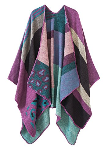 Urban CoCo Women's Color Block Shawl Wrap Open Front Poncho Cape (Purple-series 2)