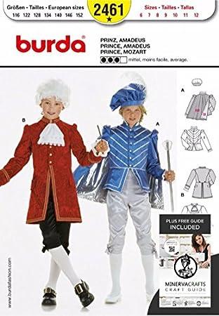 Burda Damen Schnittmuster 2461 – Prinz & Mozart Kostüm Größen: 6–12 ...