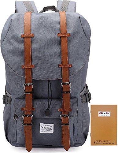 Kaukko Waterproof Laptop Backpack Hiking Rucksack with Large Capacity Gray