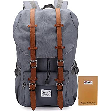 Laptop Outdoor Backpack, Travel Hiking& Camping Rucksack Pack, Casual Large College School Daypack, Shoulder Book Bags Back Fits 15  Laptop & Tablets by Kaukko