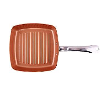 Cacerola antiadherente de cobre, Sartén a rayas cuadrada, Sartén pequeña sartén antiadherente sartén 24cm.: Amazon.es: Hogar