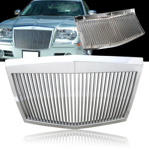 - Remix Custom Front Grill For 2005-2010 Chrysler 300 / 300C Rolls-Royce Style ABS Silver Vertical Grill - Chrome