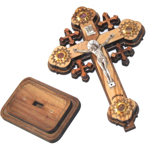 Layered olive wood Cross carved by Laser with Holy Land samples - standing or hanging ( 12 cm or 5 inches ) Small / Certificate -