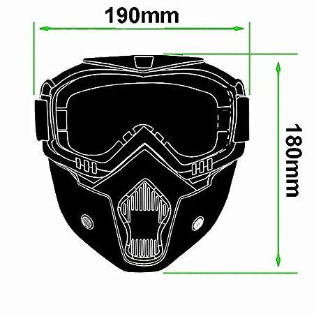 Lunettes de moto Masque amovible, Harley Style Casque de protection de rembourrage Lunettes de soleil, Route d'équitation UV Lunettes de moto, mixte femme (Rainbow Lens)