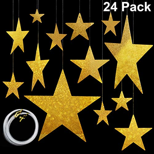 Maitys 24pack Gold Star Cutouts Gold Gold Shining Finish Star Cardboard Star Glitter Foil Sparkle Hanging Stars Gold Metallic Star Cutouts(6cm/12cm/20cm/30cm) and 50m Nylon Beading Fishing Line