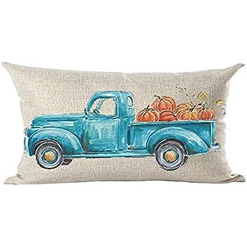 ramirar Fall Y'all Autumn Watercolor Retro Blue Pickup Truck Orange Pumpkins Decorative Lumbar Throw Pillow Cover Case Cushion Home Living Room Bed Sofa Car Cotton Linen Rectangular 12 x 20 Inches