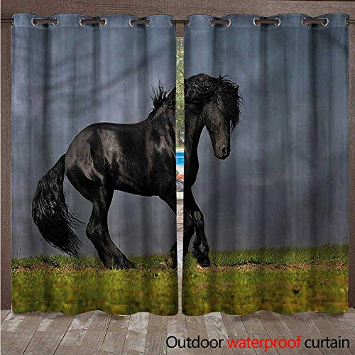 (cobeDecor Horse Outdoor Curtains for Patio Sheer Black Friesian Stallion W84 x L108(214cm x 274cm))