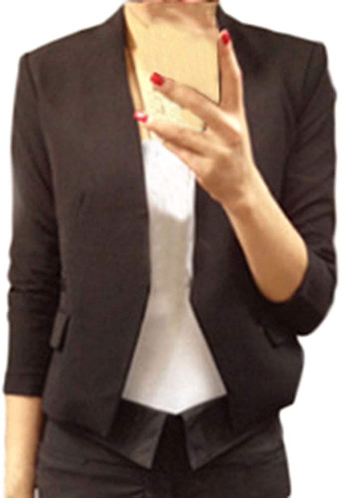 Lulupi Blazer Giacca Donna Abito Piccolo Senza Bottoni Cardigan Corto Elegante Manica Lunge A Sbuffo Tinta Unita Giacche Ufficio Affari OL Partito Cocktail Sera Coprispalle