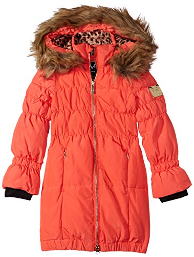 Versace 1969 Sportivo Little Girls' VG Long Down Coat, Hot Coral, 6 by Versace
