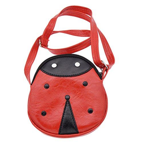 Towashine Cute Ladybug Leather Messenger Bag Mini Coin Purse Shoulder Bag for Boys Girls Kids Teens