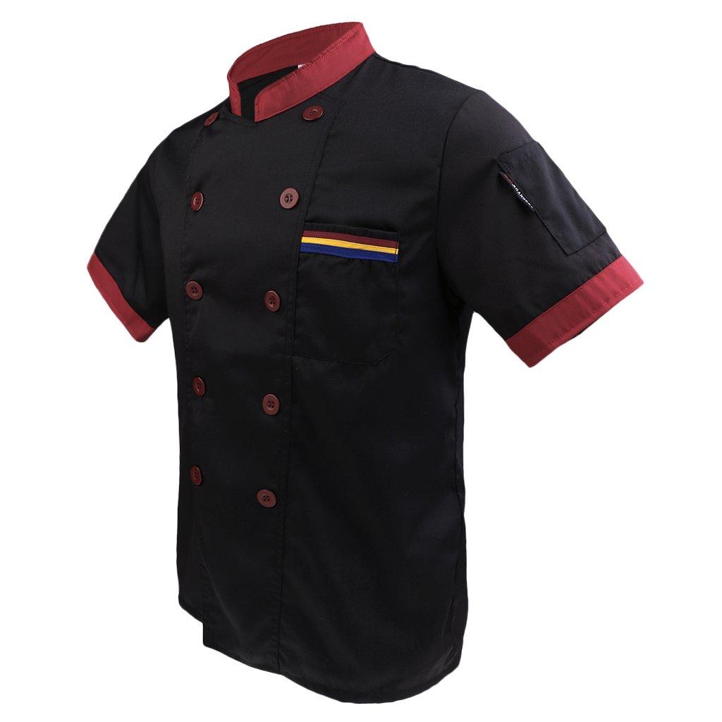 MagiDeal Uomo Donna T-shirt Camicie Giacca Cappotto Top Uniforme da Cuoco Chef Estate