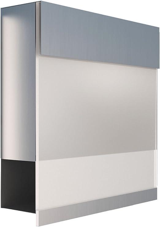 Briefkasten mit Zeitungsfach Bravios Design Wandbriefkasten Manhattan Wei/ß//Edelstahl