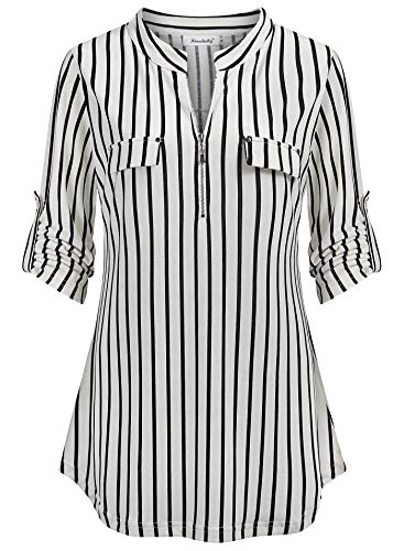 Ninedaily Striped Shirt Women, Long Sleeve Blouse for Women,Plus Size Loose Fit Office Tops Split V Neck Mandarin Collar Zipper up Curved Hem Fall Clothing Black White Stripes XX-Large