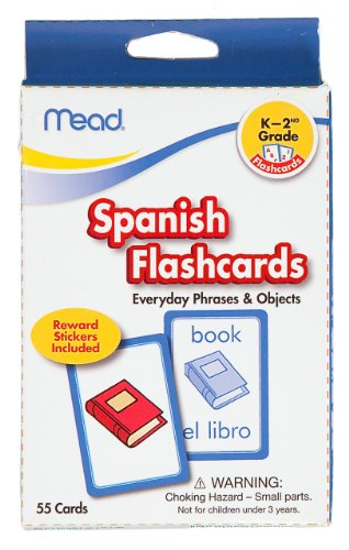 Mead Flashcards, Spanish, Grades K-2, 3.62 x 5.25 Inches, 55 Cards (63142)