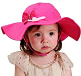 Happy Cherry Baby Girl Kid Child Toddler Sun Bucket Hat Cap with Chin Strap, 4-8Yrs
