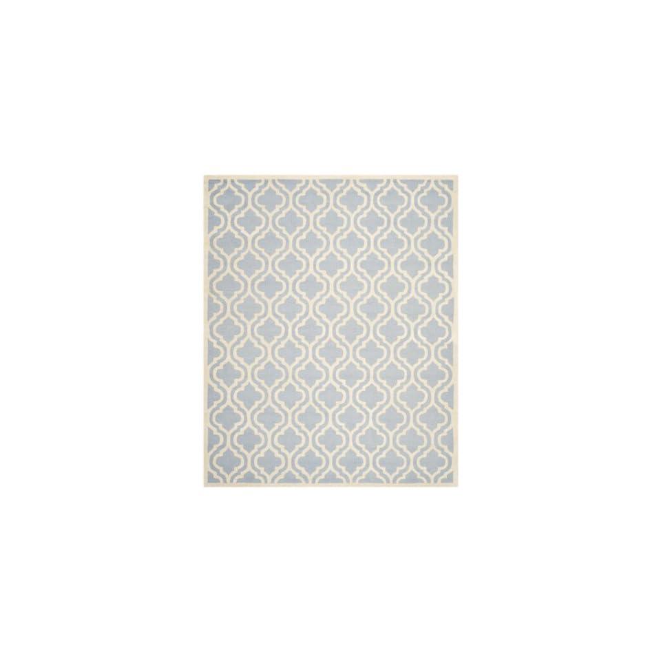 Safavieh Cambridge Collection CAM132A Handmade Moroccan Geometric Light Blue and Ivory Premium Wool Area Rug (8 x 10)