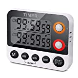 alarm clock direct entry - Digital Dual Kitchen Timer, Countdown Timer, Cooking Timer, Stopwatch, Large LED Display Count Up/Down Timer, Alarm Reminding by Flashing, Magnetic Back, Stand, White (Battery Included) (1 Pack)