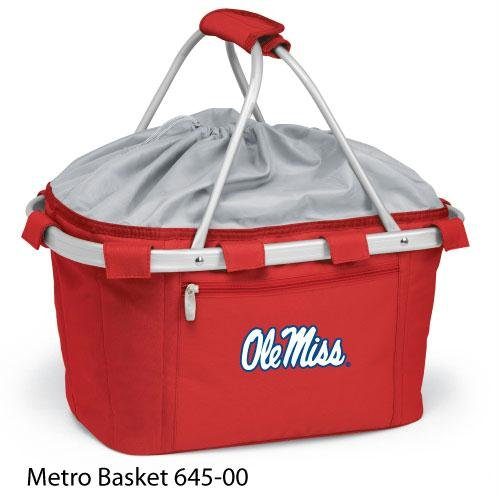 Metro Embroidered Basket (Picnic Time 645-00-100-372-0 University of Mississippi Embroidered Metro Picnic Basket, Red)