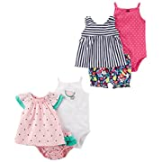 Carter's Baby Girls' 6-Piece Bodysuit Tee and Short Set, Watermelon/Stripe Floral, 9 Months