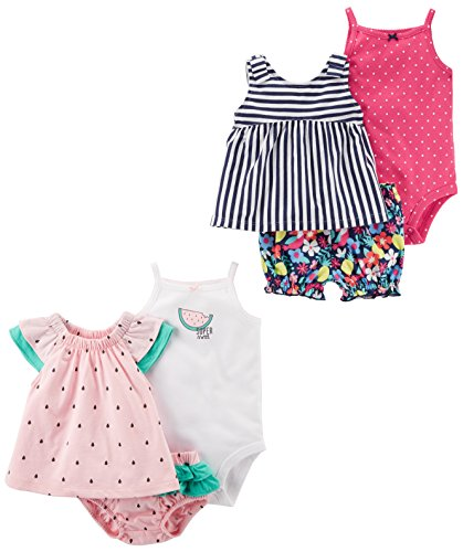 Carter's Baby Girls 6-Piece Bodysuit Tee and Short Set, Watermelon/Stripe Floral, 6 Months