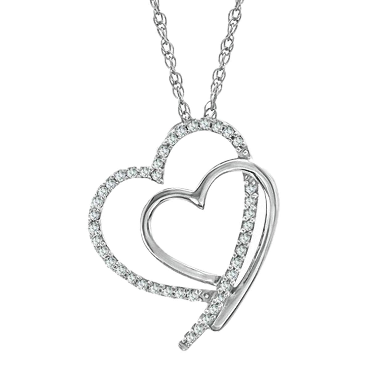 10k Real White Gold 0.25 Ct Round Cut Simulated Diamond Double Heart Pendant With 18 Chain .925 Silver
