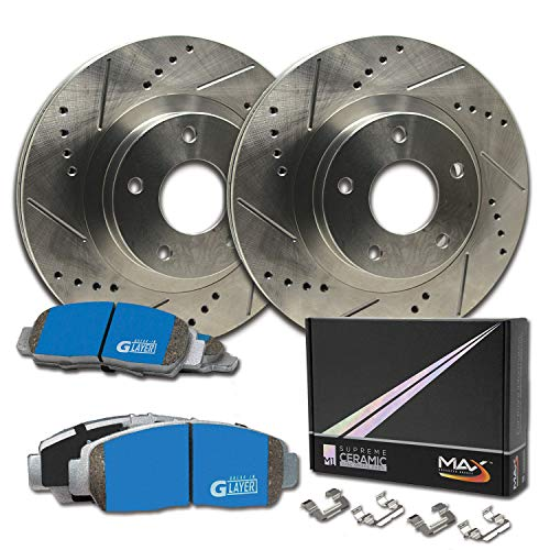 Max Brakes Rear Supreme Brake Kit [ Premium Slotted Drilled Rotors + Ceramic Pads ] KM022032 | Fits: 2005 05 Chevy Silverado 1500 2WD/4WD Models w/ 6 Lugs Rotors & Single Piston Rear Calipers