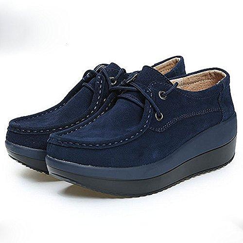 Cybling Damesschoenen Casual Sneakers Comfort Lace Up Lage Top Mid Hakken Schoenen Blauw