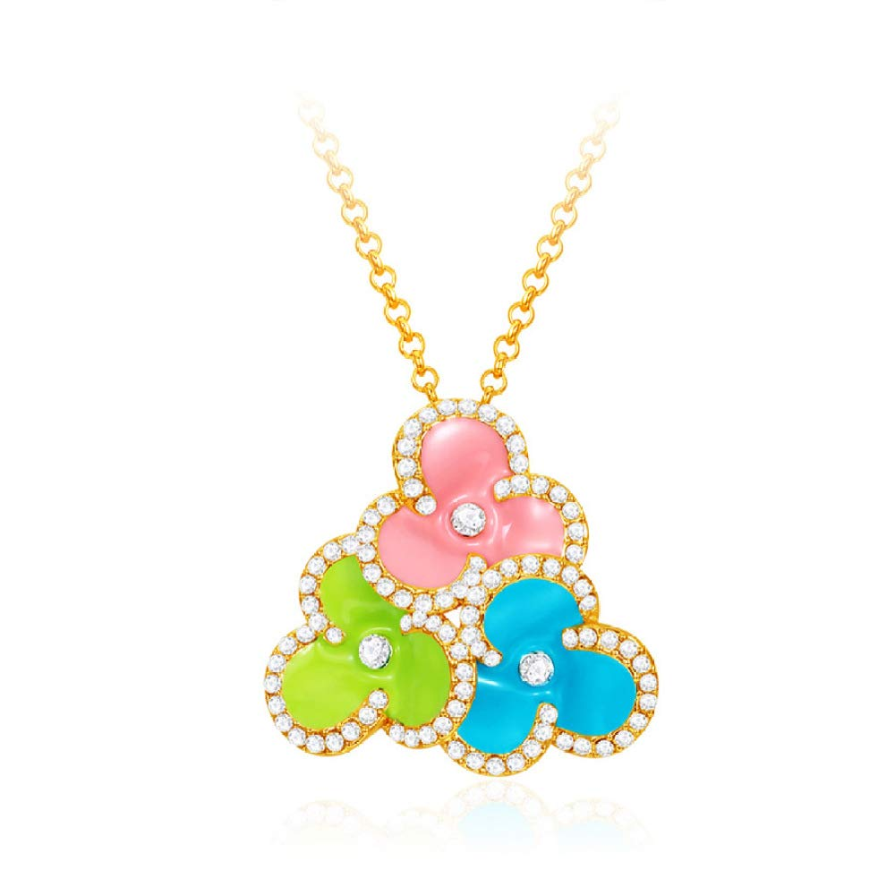 MYYQ Women Necklace Pendant,Fashion Necklace Crystal Diamond Classic Flower Girl Romantic Drop Oil Pendant Jewelry