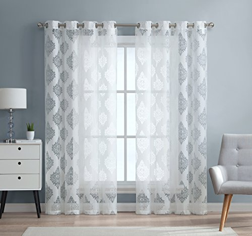 HLC.ME Adel Damask Burnout Window Sheer Voile Curtain Grommet Panels - Set of 2 - 84