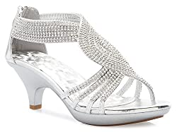 Silver Open Toe Strappy Rhinestone Low Heel Sandal